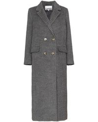 Ganni Double-breasted Checked Coat - Gray