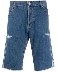 Balmain Jeans-Shorts mit Logo-Print - Blau