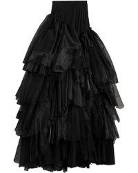 Burberry Многоуровневая Юбка Макси Из Органзы И Тюля - Черный
