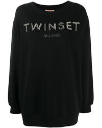 Twin Set Crystal-embellished Sweatshirt - Black