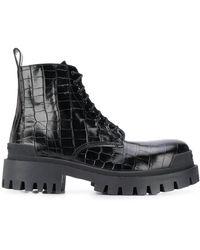 Balenciaga Crocodile-effect Biker Boots - Black