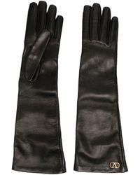 Valentino Vロゴ ロンググローブ - ブラック