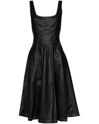 STAUD アニマルフリーレザー ドレス - ブラック