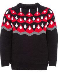 Prada インターシャ セーター - ブラック