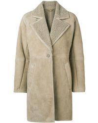 b6c44653a1af2 Ferragamo Shearling-lined Coat - Natural