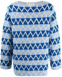 Marni インターシャ セーター - ブルー