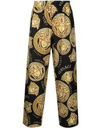Versace Пижамные Брюки С Принтом Medusa - Черный