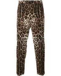 Dolce & Gabbana レオパード柄パンツ - ブラウン