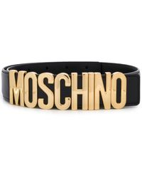 Moschino Logo Belt With Gold-tone Hardware - Black