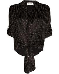 Saint Laurent Tie-front Polka-dot Shirt - Black