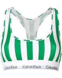 CALVIN KLEIN 205W39NYC Striped Logo Trim Bralette - White