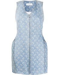 Marine Serre Crescent Print Denim Dress - Blue