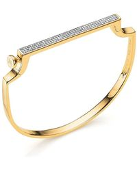 Monica Vinader Signature 18ct Yellow-gold Vermeil And Diamond Bangle - Black