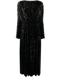 Saint Laurent Платье Макси С Пайетками - Черный