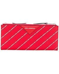 Karl Lagerfeld - Striped Logo Folded Wallet - Lyst