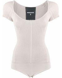 Patrizia Pepe Costina Ribbed-knit Bodysuit - Natural