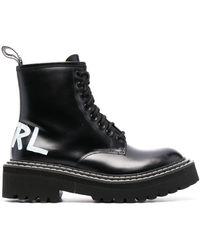 Karl Lagerfeld Troupe ロゴ コンバットブーツ - ブラック