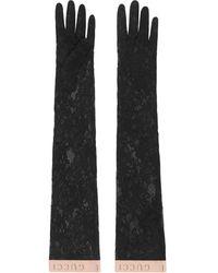Gucci Guantes con encaje floral - Negro