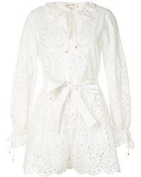 Zuhair Murad Ruffle Tie-waist Shirt Dress - White