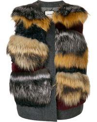 Max & Moi Panel Fur Gilet - Gray