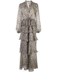 Shona Joy Robe longue volantée à imprimé léopard - Noir
