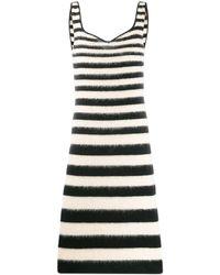 Marni Striped Fitted Midi Dress - Black