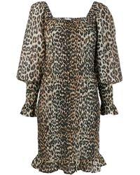 Ganni - Leopard Print Smock Dreess - Lyst