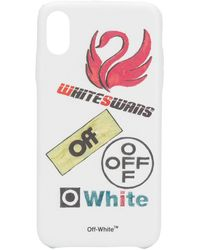 Off-White c/o Virgil Abloh Iphone X Hoesje Met Zwanen Print - Wit