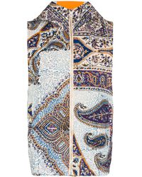 Paria Farzaneh Iranian Printed Quilted Gilet - Blue