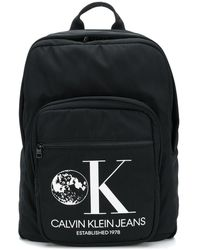 CALVIN KLEIN JEANS EST. 1978 Logo Print Backpack - Black