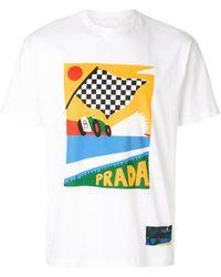 Prada | Racing Flag Printed T-shirt | Lyst