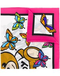 Moschino Butterfly Teddy Scarf - White