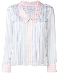 Thom Browne ファンミックスストライプ シルクシャツ - ホワイト