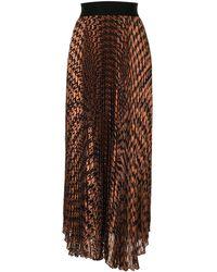 Alice + Olivia Harvest Houndstooth Pleated Skirt - Brown