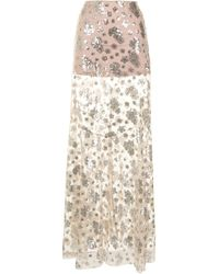 Macgraw Dorothea Floral Sequined Embroidered Skirt - Multicolor