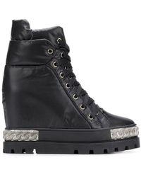 Casadei Wedged Lace-up Boots - Zwart