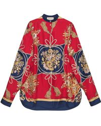 Gucci - Oversize Shirt With Flowers And Tassels - Lyst