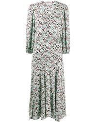 Essentiel Antwerp Floral Long-sleeve Flared Dress - Green