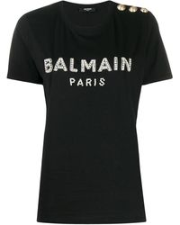Balmain ビジュー ロゴ Tシャツ - ブラック