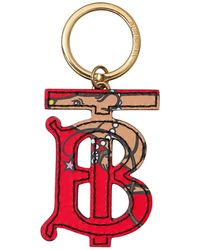 Burberry Rat-print Monogram Keyring - Red