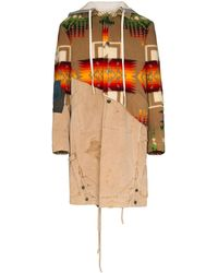 Greg Lauren 50/50 Hooded Coat - Brown