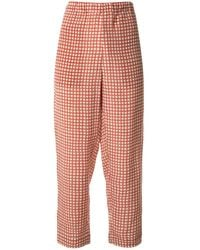 Marni Checked Cropped Pants - Red