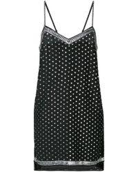 Adam Selman Heart Print Slip Dress - Black