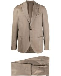 Dell'Oglio Pinstriped Two-piece Suit - Brown
