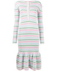 Natasha Zinko - Stripe Print Peplum Dress - Lyst