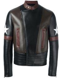 Givenchy Chaqueta biker con estrellas - Negro