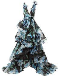 Marchesa ティアード ドレス - ブラック