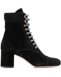 Miu Miu Suede Ankle Boots - Black