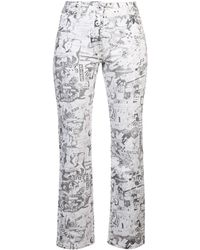 Off-White c/o Virgil Abloh Cartoon-printed Straight Jeans - White