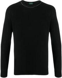 Zanone Jersey de punto con cuello redondo - Negro